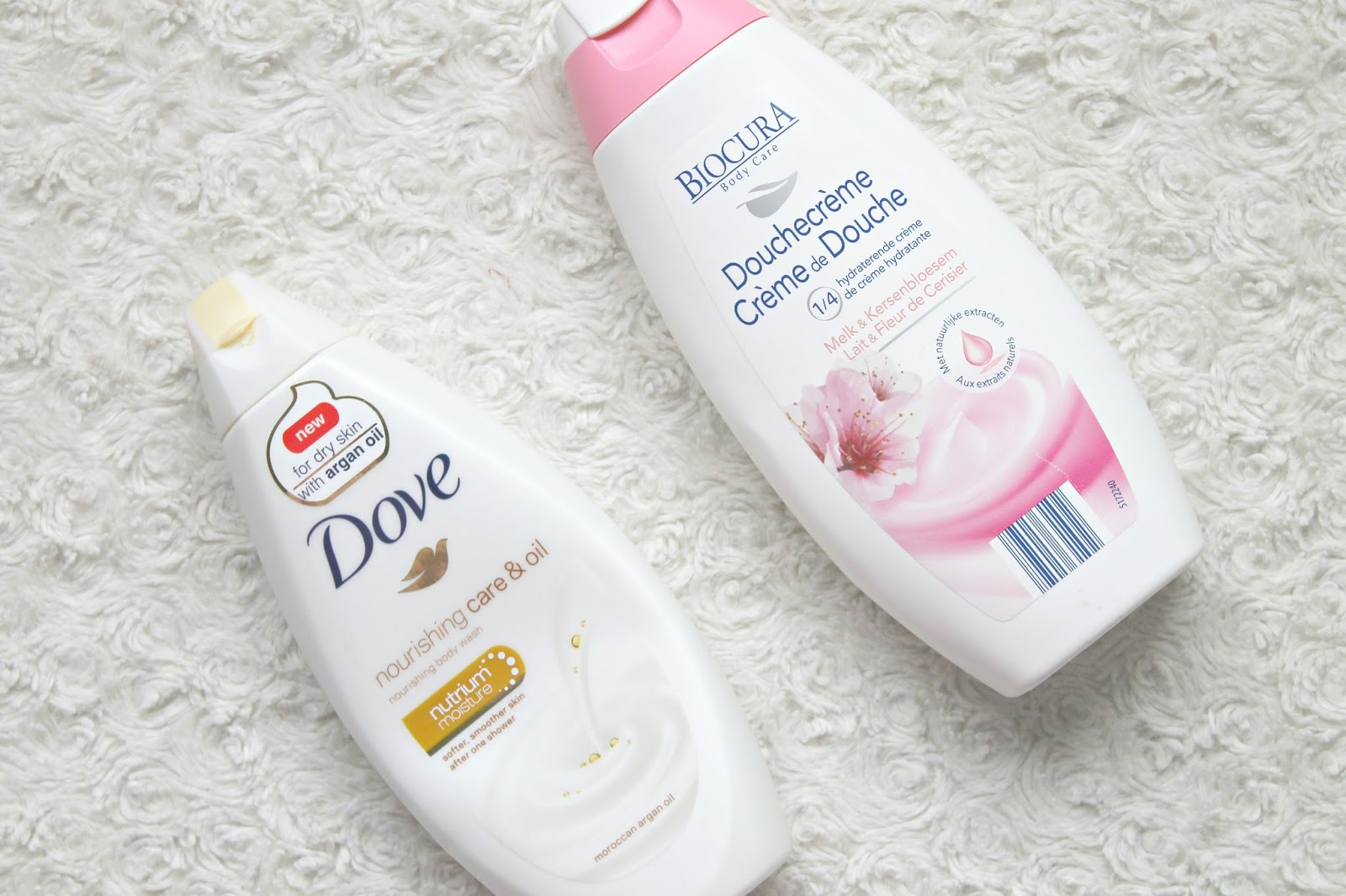 dove nourishing care oil moroccon argan oil body wash biocura hydraterende douchecreme melk kersenbloesem
