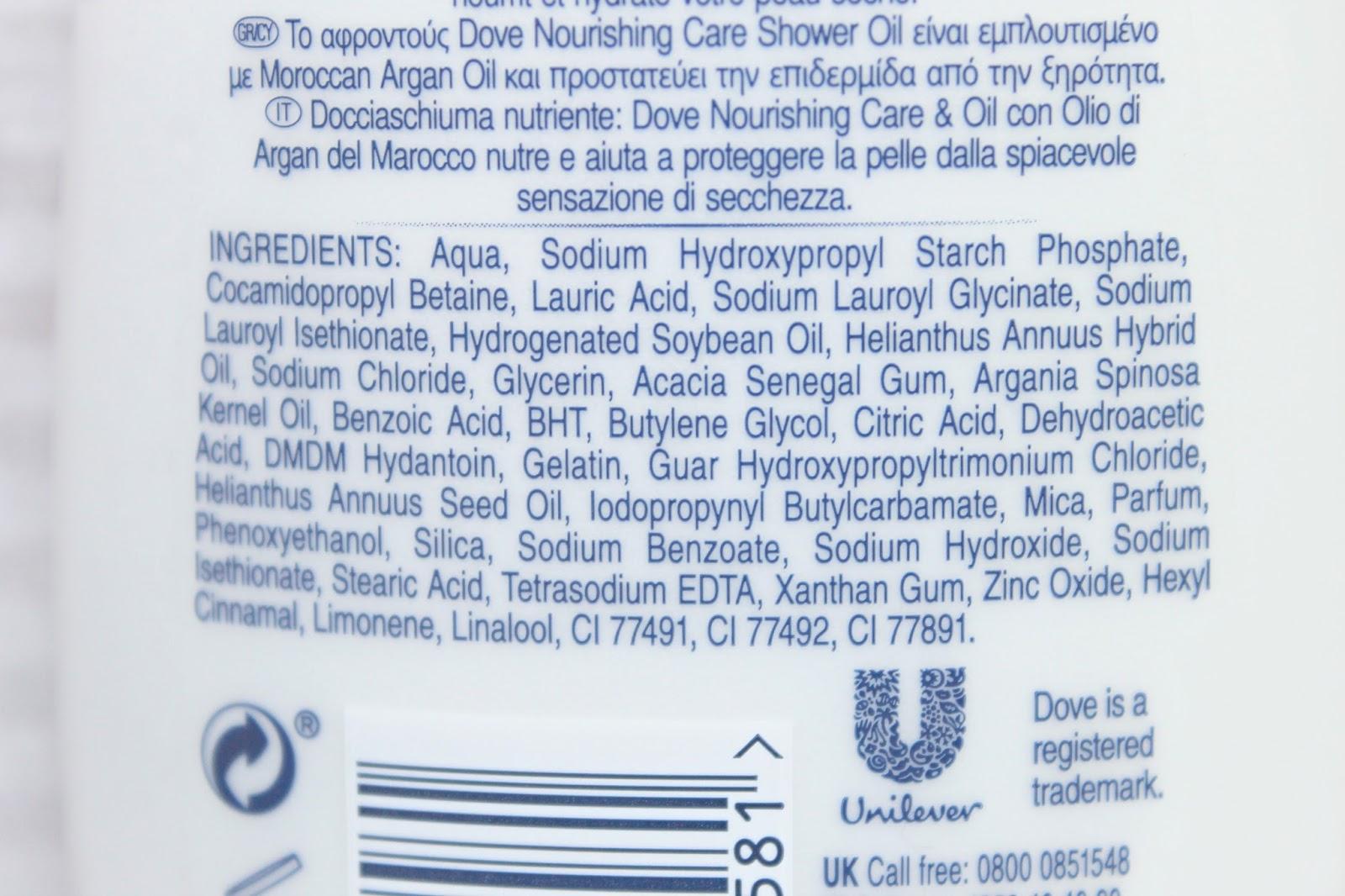 ingrediënten dove nourishing care & oil body wash