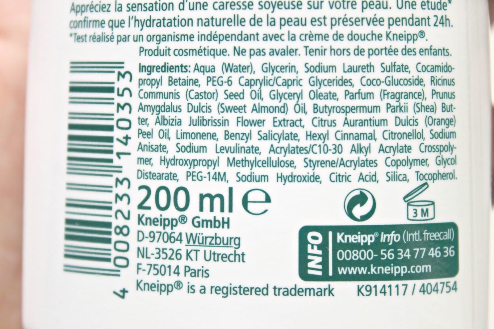 ingrediënten kneipp silky secret creme douche