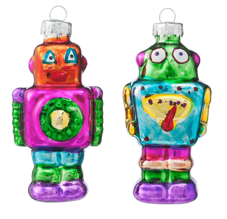 hema kerstcollectie glazen robotjes hangers