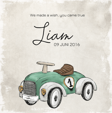 vintage geboortekaartje auto